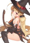 1girl apple ass azur_lane bangs bare_back bare_shoulders black_legwear blonde_hair blush breasts broom commentary_request detached_sleeves dress eldridge_(azur_lane) eyebrows_visible_through_hair facial_mark finger_to_mouth food fruit fujieda_uzuki hair_ornament hairclip halloween halloween_costume hat highres long_hair looking_at_viewer no_panties red_eyes simple_background sleeveless sleeveless_dress small_breasts solo straddling striped striped_legwear thigh-highs twintails vertical-striped_legwear vertical_stripes very_long_hair white_background witch witch_hat