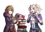 2girls ahoge armor book book_stack breastplate brown_hair cloak cynthia_(fire_emblem) fire_emblem fire_emblem:_kakusei gauntlets gloves grin gzei holding holding_book mark_(fire_emblem) multiple_girls nintendo simple_background smile stacking twintails white_background white_hair
