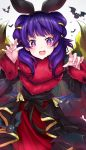 1girl blush dragon_girl dragon_wings dress fire_emblem fire_emblem:_seima_no_kouseki fire_emblem_heroes halloween highres long_hair looking_at_viewer mamkute multi-tied_hair myrrh nintendo open_mouth purple_hair red_eyes ringozaka_mariko simple_background solo twintails wings