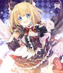 1girl :d argyle argyle_background bangs bell black_bow black_dress black_gloves black_wings blonde_hair blue_eyes blush bow breasts commentary_request dress eyebrows_visible_through_hair fangs feathered_wings gloves hair_between_eyes hair_bow jingle_bell long_hair maaru_(shironeko_project) mismatched_gloves mismatched_wings mocha_(naturefour) open_mouth puffy_short_sleeves puffy_sleeves red_bow red_legwear shironeko_project short_sleeves small_breasts smile solo striped striped_legwear vertical-striped_legwear vertical_stripes white_gloves white_wings wings