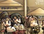 4girls :3 :d :o aoba_(kantai_collection) arm_warmers black_hair camera camouflage closed_eyes commentary_request evening hachimaki hamu_koutarou hat headband high_ponytail japanese_clothes kantai_collection light_brown_hair long_hair multiple_girls muneate ooshio_(kantai_collection) open_mouth pink_hair ponytail purple_hair red_eyes school_uniform scrunchie serafuku shimakaze_(kantai_collection) shimakaze_(seal) shirt short_hair short_sleeves short_twintails skirt smile solid_oval_eyes suspender_skirt suspenders sweat twintails violet_eyes white_shirt yahagi_(kantai_collection) zui_zui_dance zuihou_(kantai_collection)