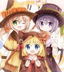 >_< 3girls :d :t ;d animal_costume animal_ears animal_hood bangs bat_wings black_wings blonde_hair blue_eyes blush bow brown_dress brown_gloves brown_hat brown_shirt closed_mouth collared_shirt commentary_request dress eyebrows_visible_through_hair food_themed_clothes gloves green_eyes hair_between_eyes hand_puppet hands_up hat holding hood hood_up light_brown_hair long_hair multiple_girls one_eye_closed open_mouth orange_bow original pout puppet purple_hair purple_hat red_bow shirt short_hair smile top_hat violet_eyes wings witch_hat yuuhagi_(amaretto-no-natsu)
