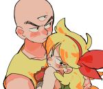 1boy 1girl bald black_eyes blonde_hair blush close-up dragon_ball dragon_ball_(classic) frown gloves goro_(szyk7834) green_eyes green_shirt hairband height_difference hetero hug long_hair looking_away lunch_(dragon_ball) nervous red_hairband serious shirt simple_background sleeveless sleeveless_shirt standing tenshinhan third_eye upper_body wavy_mouth white_background white_shirt