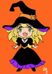 1girl artist_name blonde_hair blush chibi collar cute fang green_eyes halloween open_mouth orange_background original r・yamamoto solo witch witch_dress witch_hat