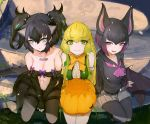 3girls animal_ears bare_shoulders bat_ears bat_wings beltbra black_hair blonde_hair blue_eyes blue_hair blush bow bowtie cape center_frills cerberus_(kemono_friends) collar collarbone commentary common_vampire_bat_(kemono_friends) cutoffs dnsdltkfkd dog_ears dog_tail elbow_gloves eyebrows_visible_through_hair fang fingerless_gloves gloves green_eyes green_hair hat hat_removed headwear_removed highres jack-o'-lantern_(kemono_friends) kemono_friends lizard_tail long_hair long_sleeves low_twintails midriff multicolored_hair multiple_girls name_tag navel neckerchief pantyhose pleated_skirt pumpkin_hat purple_hair sailor_collar scar scar_across_eye school_uniform serafuku short_hair sitting skirt sleeveless spiked_collar spikes tail thigh_strap twintails vest violet_eyes wings