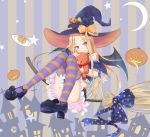 1girl abigail_williams_(fate/grand_order) alternate_costume bangs bare_shoulders black_bow black_footwear blonde_hair blue_bow blue_eyes blue_shirt blue_skirt blue_sleeves blush bow broom building closed_mouth commentary_request crescent_moon crossed_bandaids detached_sleeves eyebrows_visible_through_hair fate/grand_order fate_(series) food frilled_shirt frilled_skirt frills full_body halloween hat hat_bow head_tilt high_heels highres jack-o'-lantern licking_lips long_hair looking_at_viewer mary_janes moon pancake parted_bangs plate pleated_skirt print_bow puffy_short_sleeves puffy_sleeves purple_hat sakazakinchan shirt shoes short_sleeves skirt smile solo stack_of_pancakes star star_print striped striped_background striped_legwear thigh-highs tongue tongue_out vertical-striped_background vertical_stripes very_long_hair witch_hat