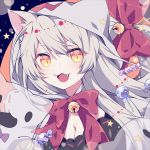 1girl :3 animal_ears bell black_hanekawa bow breasts candy cat_ears cleavage commentary fangs food fukurou_(hvgd5584) halloween_costume hanekawa_tsubasa hood large_breasts long_hair looking_at_viewer monogatari_(series) open_mouth silver_hair slit_pupils solo symbol_commentary very_long_hair yellow_eyes