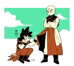 2boys :o bald black_hair boots chinese_clothes clouds cloudy_sky crossed_arms dougi dragon_ball dragon_ball_super dragonball_z expressionless goro_(szyk7834) grabbing hand_on_own_chin leaf long_sleeves looking_down male_focus multiple_boys serious short_hair simple_background sitting sitting_on_tree_stump sky son_gokuu spiky_hair tenshinhan third_eye translation_request tree tree_stump white_background wristband