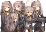5girls :d :p armband bangs black_gloves black_jacket black_legwear black_ribbon blush brown_eyes brown_hair character_name commentary_request eyebrows_visible_through_hair fingerless_gloves girls_frontline gloves grey_hair gun h&k_ump h&k_ump45 hair_between_eyes hair_ornament hands_up heckler_&_koch highres holding holding_gun holding_weapon hood hood_down hooded_jacket hug jacket lee_seok_ho long_hair long_sleeves looking_at_viewer multiple_girls neck_ribbon object_namesake one_side_up open_clothes open_jacket open_mouth pantyhose ribbon scar scar_across_eye shirt sidelocks skirt sleeves_past_fingers sleeves_past_wrists smile submachine_gun tongue tongue_out ump45_(girls_frontline) very_long_hair weapon white_background white_shirt