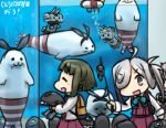 3girls :3 :d ahoge animalization aoba_(kantai_collection) asashimo_(kantai_collection) bob_cut braid camera closed_eyes commentary_request green_hair grey_eyes hair_over_one_eye hair_ribbon hamu_koutarou kantai_collection lifebuoy long_hair multiple_girls ni-class_destroyer open_mouth pink_hair ponytail rensouhou-chan ribbon seal shimakaze_(kantai_collection) shimakaze_(seal) short_hair sidelocks silver_hair smile submerged swimming takanami_(kantai_collection) water_tank whiskers