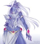 1girl armlet blue_skin breasts brown_eyes elf fantasy gem hair_intakes hand_on_hip highres jewelry large_breasts lera_pi lips long_hair long_skirt necklace night_elf nose pointy_ears queen_azshara side_slit silver_hair skirt smile solo tiara warcraft white_background white_skirt world_of_warcraft