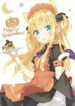 1girl animal_ears apron blonde_hair blue_eyes blush bow cat_ears cat_tail commentary_request english eyebrows_visible_through_hair happy_halloween holding holding_plate holding_skirt long_hair looking_at_viewer maid maid_apron open_mouth orange_apron original peko plate pumpkin shimotsuki_potofu solo tail two_side_up