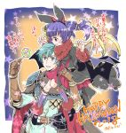 1boy 1girl armor blue_eyes blue_hair blush cape dragon_girl dragon_wings dress ephraim fire_emblem fire_emblem:_seima_no_kouseki fire_emblem_heroes gloves green_hair kizuki_miki long_hair looking_at_viewer mamkute multi-tied_hair myrrh nintendo open_mouth purple_hair red_eyes short_hair smile twintails weapon wings