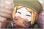 1girl bag bangs bench beret blonde_hair blush brown_gloves closed_eyes commentary_request day eating facing_viewer fate/grand_order fate_(series) food forehead gloves green_hat green_jacket hamburger hat holding holding_food jacket long_sleeves on_bench outdoors paper_bag park_bench parted_bangs paul_bunyan_(fate/grand_order) sitting sleeves_past_wrists solo upper_body wada_kazu