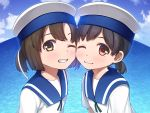 2girls ;) ;d bangs black_hair blue_sailor_collar blue_sky blush brown_eyes brown_hair cheek-to-cheek clouds collarbone daitou_(kantai_collection) day eyebrows_visible_through_hair fisheye grin hat hiburi_(kantai_collection) imachireki kantai_collection looking_at_viewer low_ponytail multiple_girls ocean one_eye_closed open_mouth outdoors red_eyes sailor_collar sailor_hat shirt short_hair short_sleeves sky smile teeth twitter_username water white_hat white_shirt