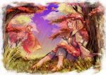 2girls aki_minoriko aki_shizuha apron autumn autumn_leaves barefoot black_skirt blonde_hair brown_shirt clouds dappled_sunlight day gradient_sky grass hair_ornament hat highres juliet_sleeves leaf leaf_hair_ornament lifted_by_self long_sleeves looking_to_the_side looking_up maple_leaf mob_cap multiple_girls open_mouth outdoors profile puffy_sleeves red_shirt red_skirt shirt short_hair siblings sideways_mouth sisters sitting skirt skirt_lift skirt_set sky smile sunlight tamiku_(shisyamo609) touhou tree under_tree yellow_eyes