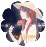 1girl arm_at_side arm_up bangs black_background blue_sailor_collar breasts brown_hair closed_mouth commentary_request floral_background flower hat long_hair neckerchief_on_head no_bra open_clothes open_shirt original pink_flower rice_hat sailor_collar small_breasts solo straight_hair straw_hat two-tone_background undone_neckerchief upper_body violet_eyes white_background yutaka7