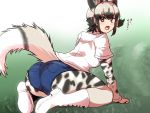 1girl african_wild_dog_(kemono_friends) african_wild_dog_print animal_ears animal_print arm_support ass black_hair bodystocking boots commentary_request day denim denim_shorts dog_ears dog_tail eyebrows_visible_through_hair from_behind full_body grass grey_eyes grey_hair isuna kemono_friends leaning_forward long_sleeves looking_at_viewer looking_back multicolored_hair open_mouth outdoors pocket shirt short_over_long_sleeves short_shorts short_sleeves shorts sidelocks sitting solo tail translated two-tone_hair white_footwear white_shirt