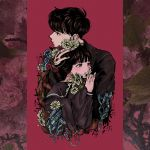 1boy 1girl bangs black_eyes black_hair black_sailor_collar black_shirt commentary_request crying crying_with_eyes_open flower hair_flower hair_ornament height_difference highres hug leaf long_sleeves mofuko_(i_rtn) original parted_lips pink_background plant profile red_flower red_rose rose sailor_collar shirt tagme tears thorns vines white_flower