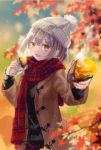 1girl :d autumn autumn_leaves bangs beanie blurry blurry_background blush coat commentary_request cowboy_shot eyebrows_visible_through_hair fang food giving grey_hair hat highres holding holding_food long_sleeves looking_at_viewer open_mouth orange_eyes original outstretched_arm plaid plaid_scarf pom_pom_(clothes) scarf short_hair smile solo standing steam sweater sweet_potato yakiimo yumeichigo_alice