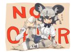 1girl african_wild_dog_(kemono_friends) african_wild_dog_print animal_ears blush boots bow bowtie collared_shirt commentary_request denim denim_shorts dog_ears dog_tail eyebrows_visible_through_hair fang grey_hair kemono_friends leg_up long_sleeves multicolored_hair open_mouth pantyhose print_legwear shirt short_hair short_sleeves shorts solo sweatdrop tail teranekosu translated