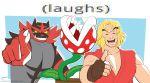 1boy :d artist_name blonde_hair blue_background brown_gloves creatures_(company) dougi fingerless_gloves game_freak gen_7_pokemon gloves highres incineroar jpeg_artifacts ken_masters super_mario_bros. nintendo open_mouth piranha_plant pixelpulp plant pointing pokemon pokemon_(game) pokemon_sm simple_background smile street_fighter super_mario_bros. super_smash_bros. super_smash_bros._ultimate tiger upper_body watermark web_address yellow_sclera