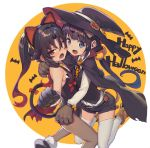 2girls animal_ears bare_shoulders black_hair blue_eyes boots cape cat_ears cat_tail choker commentary_request fang gloves halloween halloween_costume hat hinatsuru_ai leotard long_hair long_sleeves looking_at_viewer low_twintails multiple_girls neck_bell open_mouth orange_neckwear pantyhose ponytail red_eyes ryuuou_no_oshigoto! shirabi shirt shorts sleeveless tail thigh-highs twintails vest white_legwear white_shirt witch_hat yashajin_ai