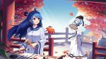 2girls ahoge autumn_leaves bili_girl_22 bili_girl_33 bilibili_douga blue_hair calligraphy_brush closed_eyes day fan fence folding_fan highres holding_brush ink light_blue_hair long_hair looking_at_another multiple_girls official_art outdoors paintbrush pink_eyes shadow sharlorc short_hair standing sunlight tree wide_sleeves writing