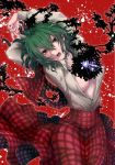1girl arms_behind_head arms_up breasts collared_shirt curly_hair dress_shirt eyebrows_visible_through_hair green_hair hair_between_eyes head_tilt high-waist_skirt kazami_yuuka large_breasts long_skirt messy_hair no_bra open_clothes open_mouth open_shirt plaid plaid_skirt plaid_vest red_background red_eyes red_skirt red_vest shirt sidate skirt solo torn_clothes torn_vest touhou vest white_shirt wing_collar