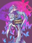 1girl amayadori-tei animal_print blue_hat blue_kimono bug butterfly butterfly_print fan floral_print folding_fan frilled_kimono frills hat highres holding holding_fan insect japanese_clothes kimono long_sleeves looking_at_viewer mob_cap obi pink_eyes pink_hair profile purple_background saigyouji_yuyuko saigyouji_yuyuko's_fan_design sash simple_background skeletal_arm solo standing touhou triangular_headpiece wide_sleeves