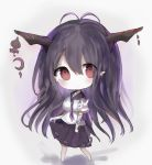 1girl :o antenna_hair bandage bandaged_arm bandages bangs barefoot black_sailor_collar black_skirt blush breasts chibi commentary_request cottontailtokki crescent danua draph eyebrows_visible_through_hair full_body granblue_fantasy grey_background hair_between_eyes head_tilt highres horn_ornament horns long_hair looking_at_viewer medium_breasts neckerchief parted_lips pleated_skirt pointy_ears purple_hair purple_neckwear red_eyes ribbon-trimmed_skirt ribbon_trim sailor_collar school_uniform serafuku shirt short_sleeves skirt solo standing very_long_hair white_shirt wide_sleeves