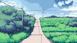 blue_sky clouds cloudy_sky commentary day derivative_work dirt_road english_commentary grass japan lennsan original power_lines road shadow sky sunlight telephone_pole tree vanishing_point
