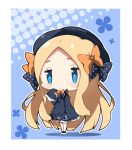 1girl :< abigail_williams_(fate/grand_order) bangs black_bow black_dress black_footwear black_hat blonde_hair bloomers blue_eyes blush bow bug butterfly chibi closed_mouth commentary_request dress fate/grand_order fate_(series) forehead full_body hair_bow halftone hat insect long_hair long_sleeves looking_at_viewer mary_janes milkpanda orange_bow parted_bangs polka_dot polka_dot_bow shoes sleeves_past_fingers sleeves_past_wrists solo standing underwear very_long_hair white_bloomers