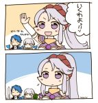 1boy 2girls arm_up artist_name blue_hair closed_eyes closed_mouth diadora_(fire_emblem) fire_emblem fire_emblem:_seisen_no_keifu fire_emblem_heroes flag holding holding_flag long_hair multiple_girls nintendo open_mouth purple_hair short_hair sigurd_(fire_emblem) sksk7r smile tiltyu_(fire_emblem) violet_eyes
