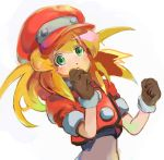 1girl blonde_hair breasts brown_gloves buttons cabbie_hat commentary_request dinef gloves green_eyes hat jacket long_hair looking_at_viewer red_jacket rockman rockman_dash roll_caskett short_sleeves solo