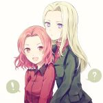 ! 2girls :d ? beefrice5 blonde_hair blue_eyes clara_(girls_und_panzer) girls_und_panzer green_jacket highres jacket long_hair looking_at_viewer multiple_girls open_mouth orange_eyes pravda_military_uniform red_jacket red_shirt redhead rosehip shirt short_hair smile speech_bubble st._gloriana's_military_uniform upper_body white_background