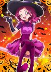 1girl ;d bangs bat blush boots breasts broom broom_riding commentary_request corset dress elbow_gloves gloves hair_ornament halloween halloween_costume hanzou hat high_heel_boots high_heels highres hugtto!_precure jack-o'-lantern long_hair looking_at_viewer nono_hana one_eye_closed open_mouth panties panty_peek pink_eyes pink_hair precure pumpkin shiny shiny_hair shiny_skin shooting_star sidelocks small_breasts smile solo sparkle star thigh-highs thigh_boots underwear witch witch_hat x_hair_ornament