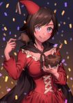 1girl birthday birthday_cake blouse breasts brown_hair cake candle cape chocolate_cake commentary_request corset food fork glitter grey_eyes happy_birthday hat highres kio_rojine licking_lips party_hat ruby_rose rwby solo tongue tongue_out