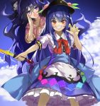 2girls arm_up bangle behind_another blue_eyes blue_hair blue_sky bow bracelet claw_pose clouds commentary_request cowboy_shot day drawstring dress eyebrows_visible_through_hair eyes_visible_through_hair food fruit grin hair_bow hand_on_own_cheek hat hinanawi_tenshi hood hood_down jewelry layered_dress leaf long_hair looking_at_viewer multiple_girls open_mouth outdoors outstretched_arm peach petticoat pink_hoodie piyodesu puffy_short_sleeves puffy_sleeves red_eyes red_neckwear ribbon short_sleeves sky smile standing sword_of_hisou touhou very_long_hair wing_collar yorigami_shion