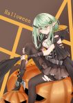 1girl absurdres arm_warmers bandage belt black_cape black_footwear black_legwear blush boots braid breasts brown_background brown_skirt cape full_body girls_frontline green_eyes green_hair hair_ornament hairclip halloween hand_on_own_leg heterochromia highres hood hood_down jack-o'-lantern knee_up knife long_hair looking_at_viewer medium_breasts pantyhose pointy_ears shaoxiao simple_background sitting skirt tac-50_(girls_frontline) torn_clothes torn_legwear
