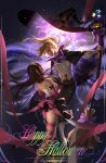 2girls ass aura back_bow belt blonde_hair bow bowtie broom brown_hair buttons cape collar d.va_(overwatch) dark_background eye_contact floating frilled_collar frills happy_halloween hat high_heels highres liang_xing long_skirt looking_at_another looking_down magic mercy_(overwatch) multiple_girls overwatch pantyhose parted_lips ribbon skirt striped striped_legwear whisker_markings witch witch_hat yuri