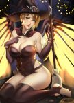 1girl absurdres adapted_costume asymmetrical_hair blonde_hair blue_eyes book bracelet breasts brown_gloves brown_legwear candy cleavage earrings elbow_gloves feet food gloves halloween hat highleg highleg_leotard highres jack-o'-lantern jack-o'-lantern_earrings jewelry looking_at_viewer mechanical_wings mercy_(overwatch) overwatch ragecndy short_hair sitting solo strap strapless strapless_leotard thigh-highs toeless_legwear toes wings witch witch_hat witch_mercy yokozuwari