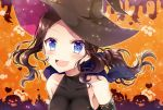 1girl :d bangs bare_shoulders black_shirt blue_eyes blush breasts brown_hair brown_hat collarbone commentary_request covered_collarbone detached_sleeves eyebrows_visible_through_hair fate/grand_order fate_(series) forehead ghost hat jack-o'-lantern large_breasts leonardo_da_vinci_(fate/grand_order) long_hair open_mouth orange_background parted_bangs sakura_tsubame shirt signature sleeveless sleeveless_shirt smile solo upper_body witch_hat