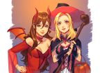 2girls blonde_hair broom brown_hair cape demon_girl demon_horns demon_tail demon_wings dress gloves halloween halloween_costume hat horns jewelry long_hair looking_at_viewer mella multiple_girls necklace octopath_traveler ophilia_(octopath_traveler) primrose_azelhart pumpkin simple_background smile staff tail wings witch witch_hat