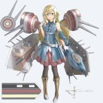 1girl :o belt black_legwear blonde_hair blue_background blue_eyes blush breasts brown_footwear concept_art detached_sleeves full_body gloves hair_ornament hairclip hand_up highres long_hair medium_breasts pantyhose pnt_(ddnu4555) rigging skirt solo standing steelblue_mirage sword tassel very_long_hair weapon white_gloves