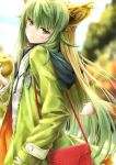 1girl ahoge animal_ears atalanta_(fate) bag bangs blonde_hair blouse blurry blurry_background blush breasts casual cat_ears cat_tail coat commentary_request day eyebrows_visible_through_hair fate/apocrypha fate_(series) food fruit green_coat green_eyes green_hair green_nails hair_between_eyes hand_in_pocket handbag head_tilt highres holding holding_fruit hood hood_down hooded_coat long_hair looking_at_viewer multicolored_hair nail_polish neck_ribbon outdoors ribbon sidelocks solo suien tail two-tone_hair very_long_hair white_blouse
