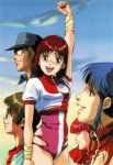 1boy 4girls 80s amano_kazumi arm_up blue_eyes blue_hair brown_eyes brown_hair gainax hat headband highres higuchi_kimiko jung_freud leotard lipstick long_hair looking_at_viewer makeup mikimoto_haruhiko multiple_girls official_art oldschool open_mouth profile red_eyes redhead scan short_hair short_sleeves sunglasses takaya_noriko top_wo_nerae! upper_teeth wristband