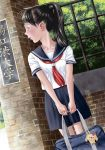 1girl bag bag_charm black_eyes black_hair black_skirt bookbag charm_(object) collarbone dutch_angle hachiremo highres holding holding_bag long_hair looking_to_the_side original outdoors ponytail school_uniform serafuku short_sleeves skirt