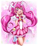 1girl :d bike_shorts blush boots cure_happy eyebrows_visible_through_hair floating_hair frilled_skirt frills full_body hair_between_eyes hairband hanzou highres hoshizora_miyuki long_hair miniskirt open_mouth pink_eyes pink_hair pink_skirt pleated_skirt precure purple_shorts shiny shiny_hair shorts shorts_under_skirt skirt smile smile_precure! solo twintails very_long_hair white_footwear wrist_cuffs