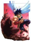 1boy armor attack bandanna bardock black_eyes black_hair clenched_teeth dragon_ball energy_ball facing_away fighting fighting_stance floating gradient gradient_background long_hair male_focus outside_border red_background red_bandana rock scouter short_hair simple_background spiky_hair teeth white_background wristband